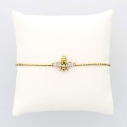 Bracelet abeille femme serti de16 brillants en grains pour un caratage total de 0,15 carat monté or 18 carats