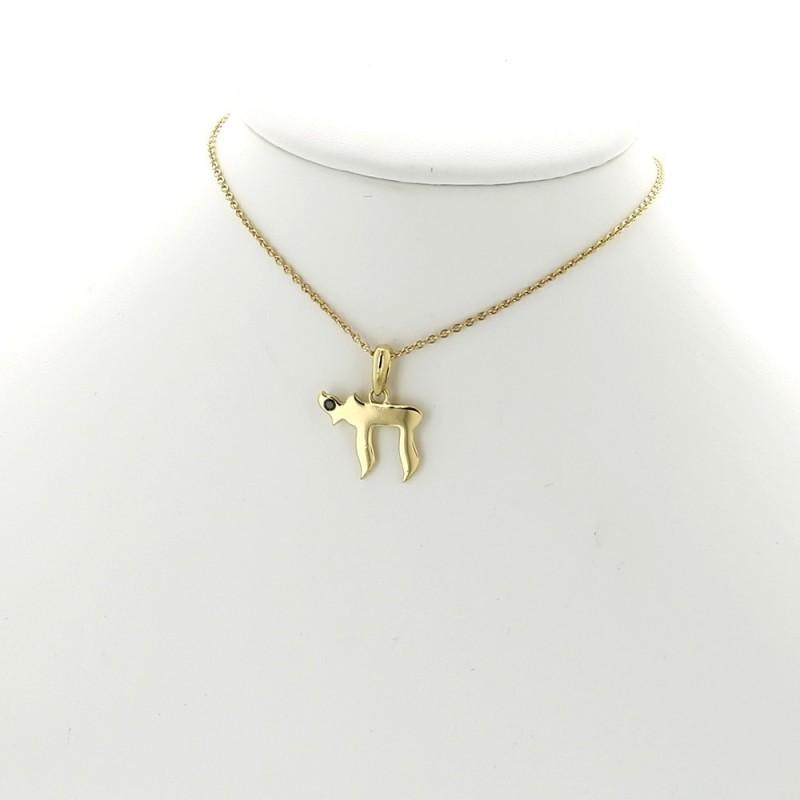 Favori Collier pendentif motif HaÏ serti de diamant noir 0,02 ct-or 18 carats TA77