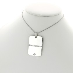 Collier pendentif plaque homme diamants 0,10 carat-or 18 carats