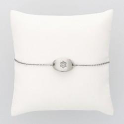 Bracelet enfant ovale motif étoile or 18 carats 7 diamants