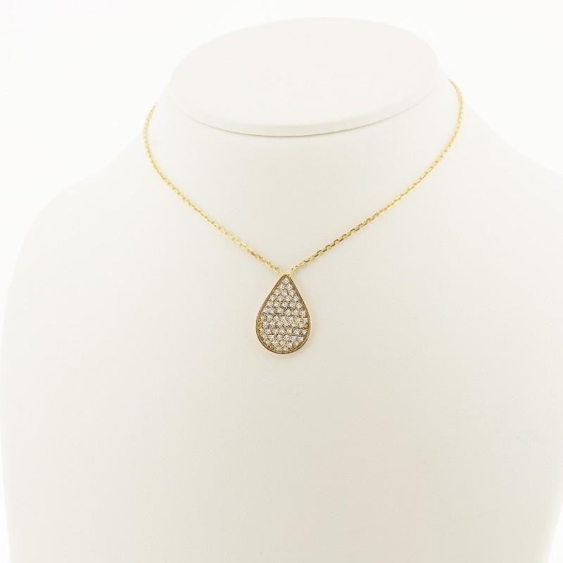 Pendentif motif goutte pavée de diamants sur chaîne en or 18 carats