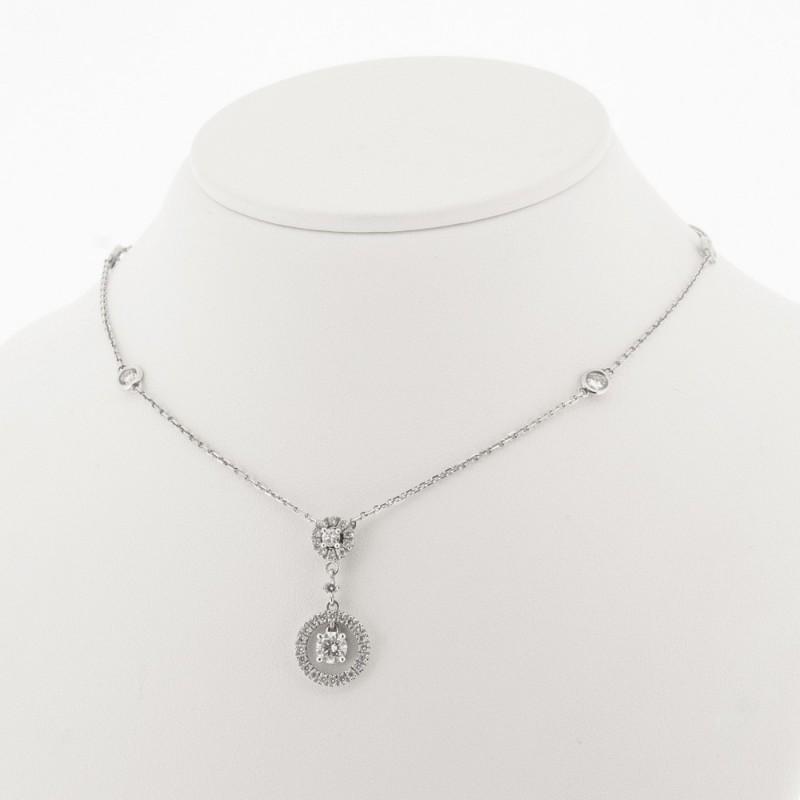 Collier pampille avec entourage serti diamant sur chaine avec diamant en serti clos