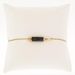 Bracelet balle Kalachnikov serti de diamants noirs pour un total de 1,03 carats, en or 18 carats