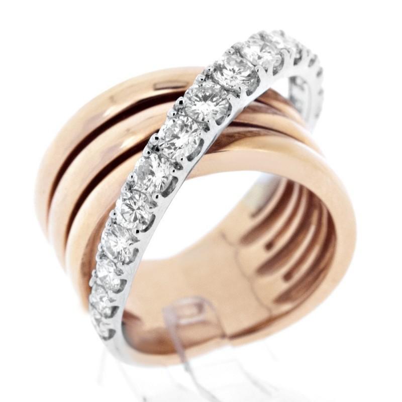 Bague large moderne à multiples anneaux dont un pavé de diamants sur griffes en or 18 carats