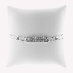 Bracelet moderne pour femme motif rectangle pavé de diamant accompagné de 2 mini oui, en or 18 carats