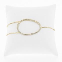 Bracelet original et moderne ovale pavé de diamants, en or 18 carats