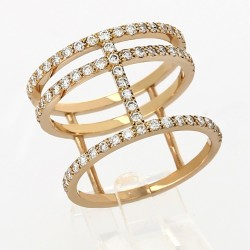 Bague 3 rangs diamants 0,73carat-or 18 carats