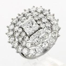 Bague joaillerie entourage trois rangs centre princesse-or 18 carats- diamants 8,09 carats