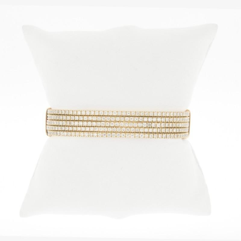 Bracelet rigide articulé 5 rangs de diamants sertis mini-griffes - Or 18 carats
