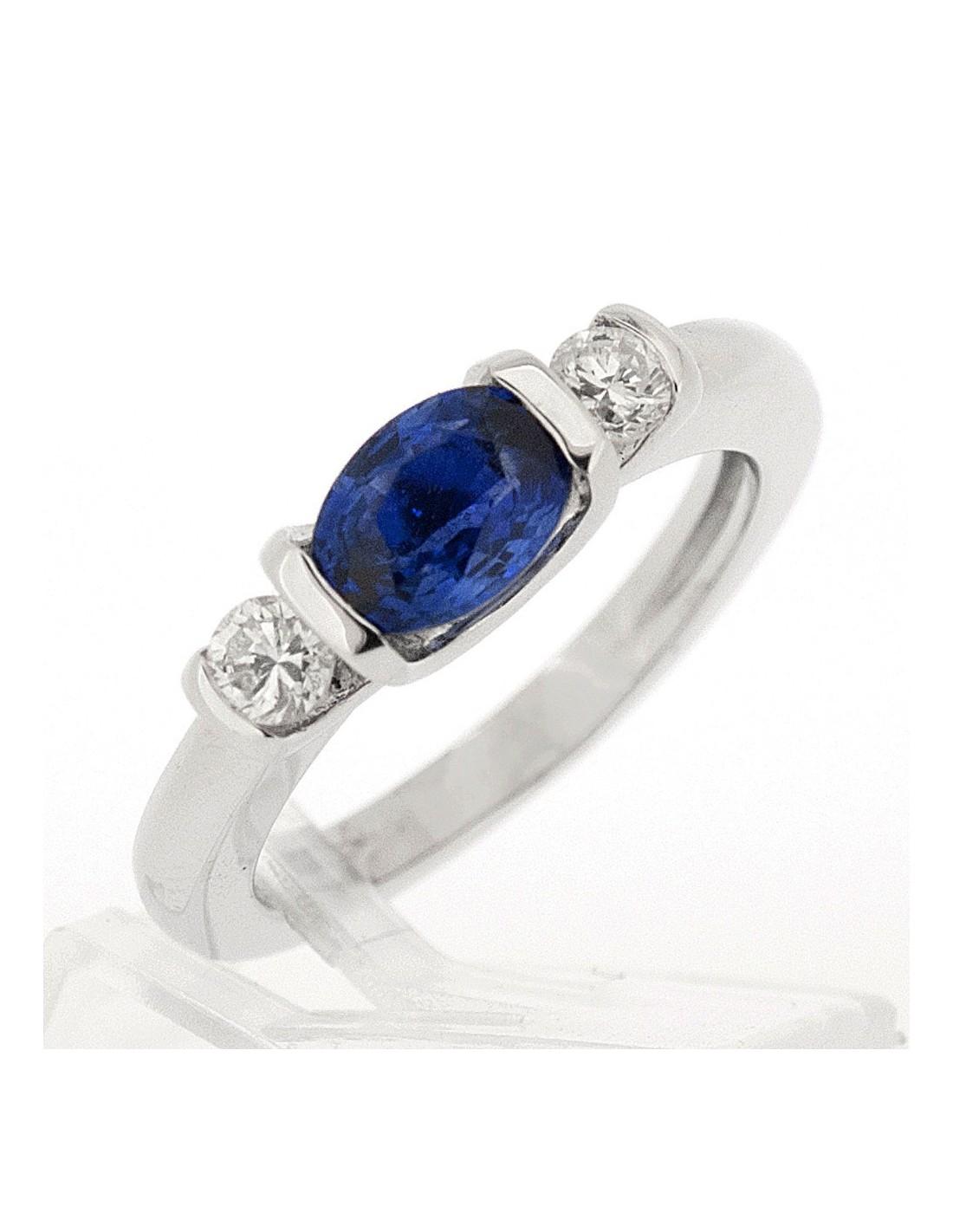 Favori Bague berceau sertie d'un saphir oavel et de deux diamants sertis  CO95