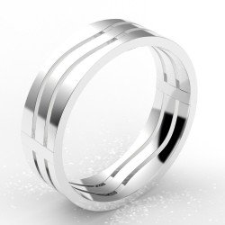 """Alliance homme or """"vague"""" 6 mm - or 18 carats"""