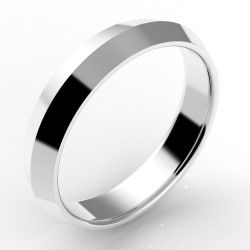 Alliance homme biseautée or 18 carats 4,5 mm