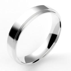 Alliance homme contemporaine double anneaux 4,5 mm or 18 carats