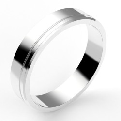 Alliance homme contemporaine 4,5 mm - liseret décalé - or 18 carats