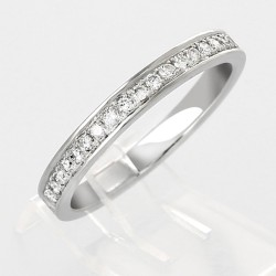 Alliance mariage demi-tour serti grains diamants 0,22 carat-or 18 carats