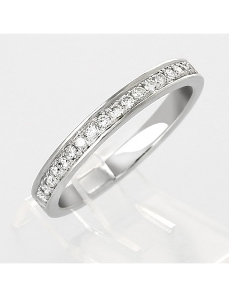 Alliance mariage demi-tour serti grains diamants 0,22 carat-or 18 carats