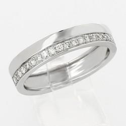 Alliance mariage double demi-tour serti grains diamants 0,20 carat-or 18 carats