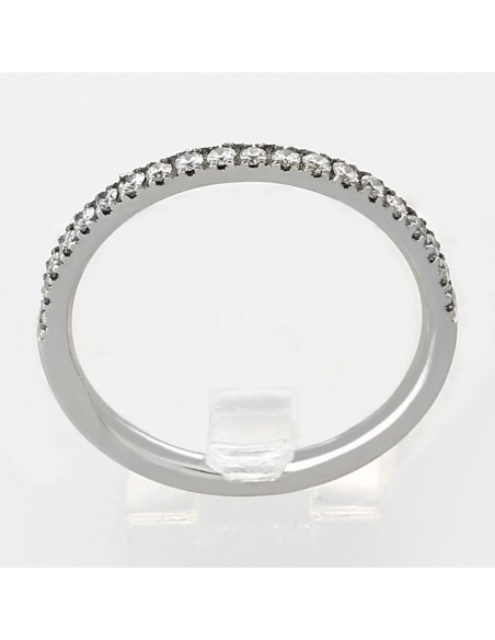 Alliance mariage demi-tour serti mini-griffes diamants 0,20 carat-or 18 carats