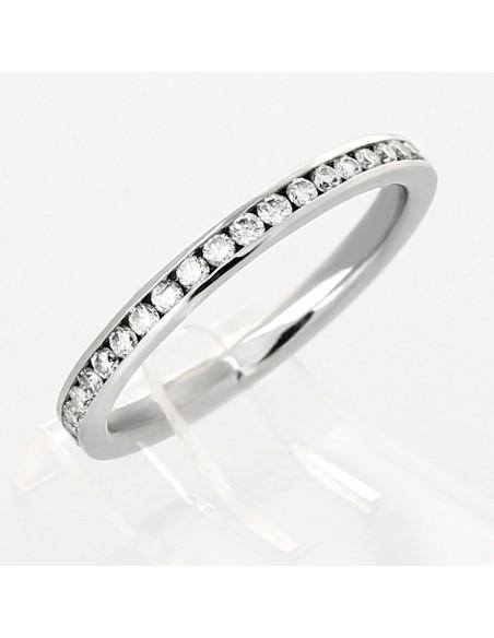 Alliance mariage demi-tour serti rail diamants 0,23 carat-or 18 carats