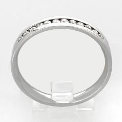 Alliance mariage demi-tour serti rail diamants 0,19 carat-or 18 carats