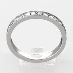 Alliance mariage demi tour illusion rail serti grains diamants 0,38 carat-or 18 carats