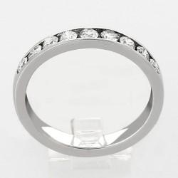 Alliance mariage demi tour serti rail diamants 0,65 carat-or 18 carats