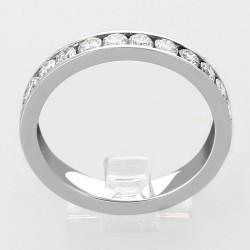 Alliance mariage demi tour serti rail diamants 0,68 carat-or 18 carats