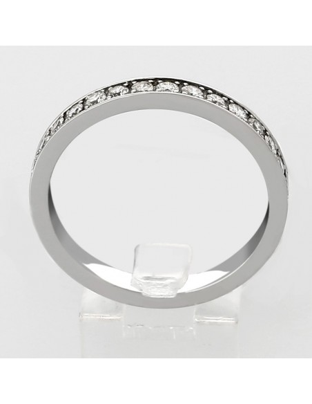 Alliance mariage demi tour serti grains diamants 0,30 carat-or 18 carats