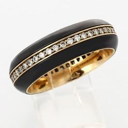 Alliance mariage tour complet or et céramique noire serti grains  diamants  0,45 carat-or 18 carats