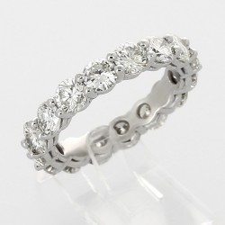 Alliance mariage tour complet serti griffes diamants 3,73 carats-or 18 carats