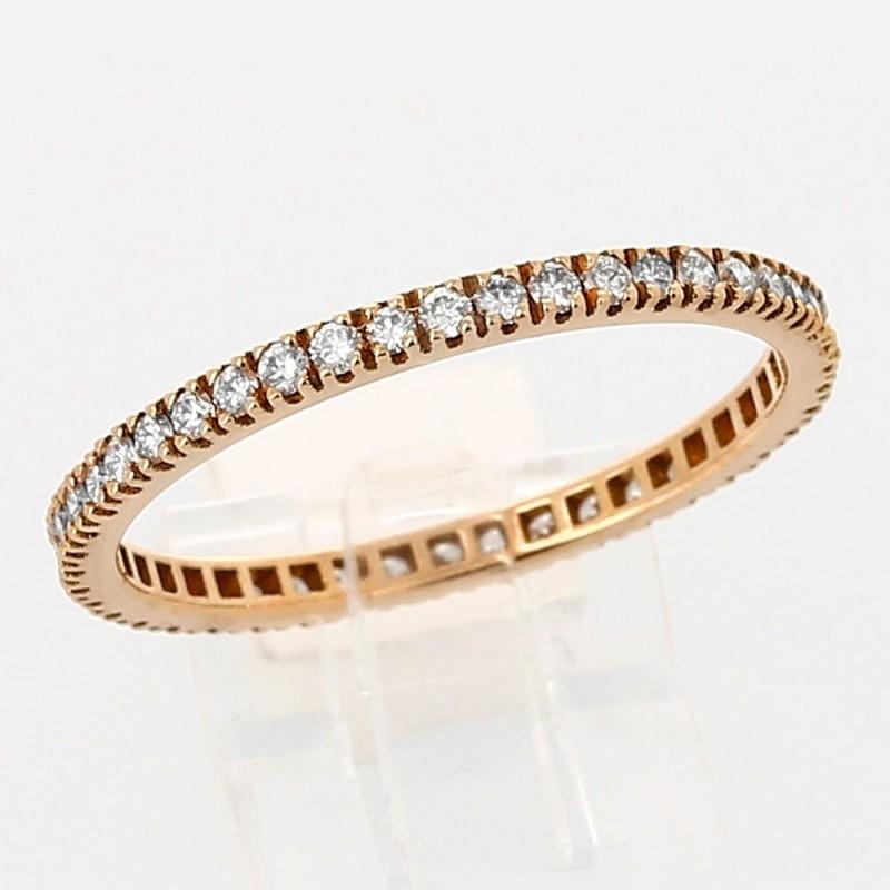Alliance tour complet diamant or 18 carats -  diamants 0,45ct  serti mini griffes