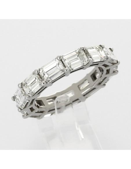 Alliance américaine diamants taille emmeraude (7,04 carats) serti 2 griffes - or 18 carats