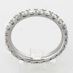 Alliance mariage tour complet serti mini-griffes diamants 1,32 carat-or 18 carats