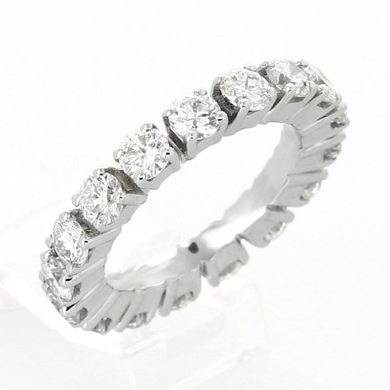 Alliance mariage diamant tour complet serti sur chatons hauts 4 griffes-diamant 3,23 carats - or 18 carats
