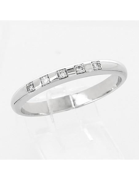 Alliance mariage jonc 5 diamants serti grains - or 18 carats