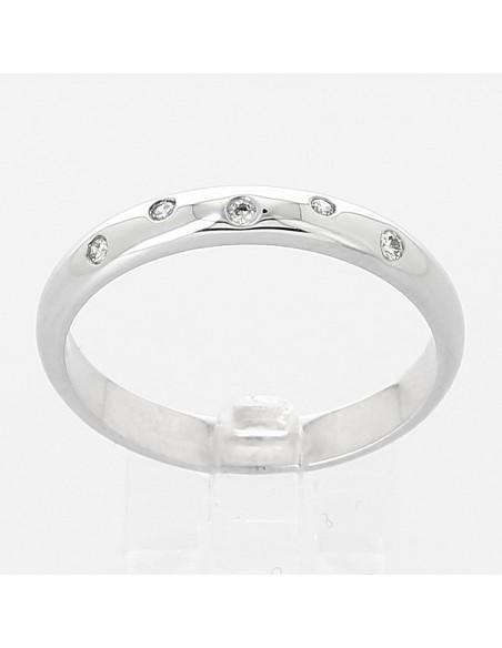 Alliance mariage diamants constellation. Jonc or 18 carats  - 5 diamants - serti masse