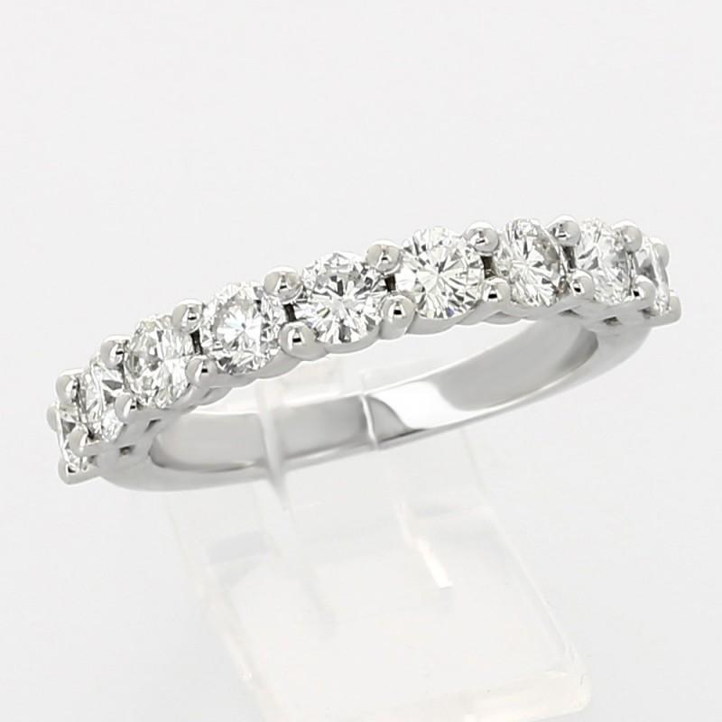 Alliance mariage demi tour serti griffes diamants 1,42 carat-or 18 carats