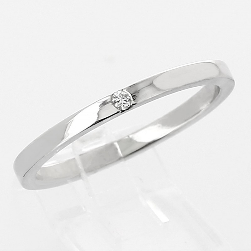 Alliance mariage femme or 18 carats - 1 diamant