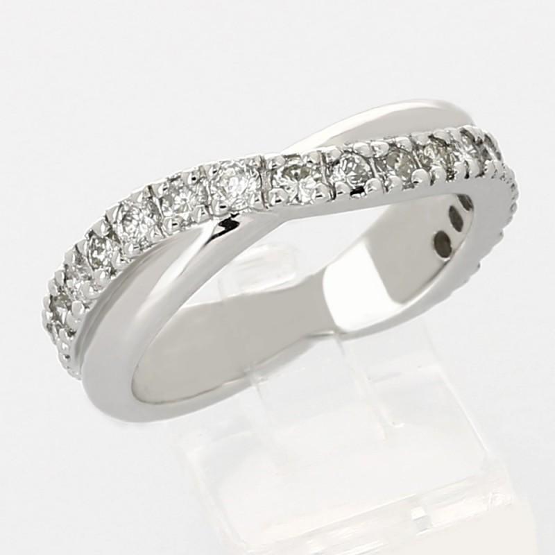 Alliance mariage tour complet esprit vague serti grains diamants 0,72 carat-or 18carats