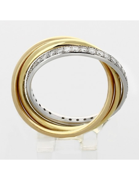 Alliance mariage 3 anneaux diamants 0,66 carat-or 18 carats