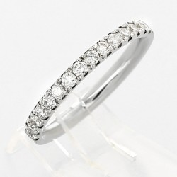 Alliance mariage serti grains diamants 0,30 carat-or 18 carats