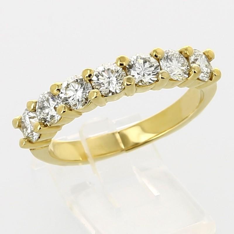 Alliance mariage demi tour serti griffes diamants 1,40 carat-or 18 carats