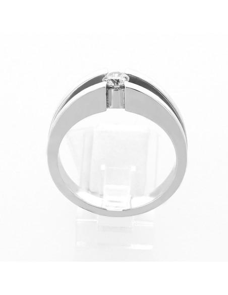Solitaire original sertissage demi-clos diamant 0,26 carat - or 18 carats