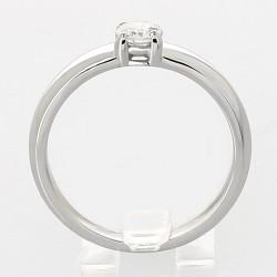 Solitaire 4 griffes monté sur jonc bombé diamant 0,35 carat-or 18 carats