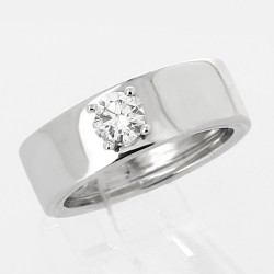 Solitaire 4 griffes corps large diamant taille brillant 0,40 ct - or 18 carats