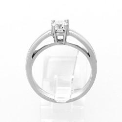 Bague de fiançailles double corps montée en solitaire 4 griffes pour un diamant de 0,40 carat- or 18 carats