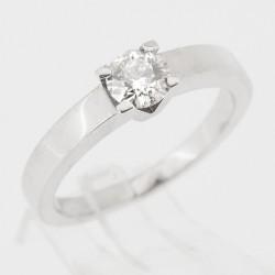 Bague de fiançailles diamant rond  serti 4 griffes en V 0,30 ct - or 18 carats