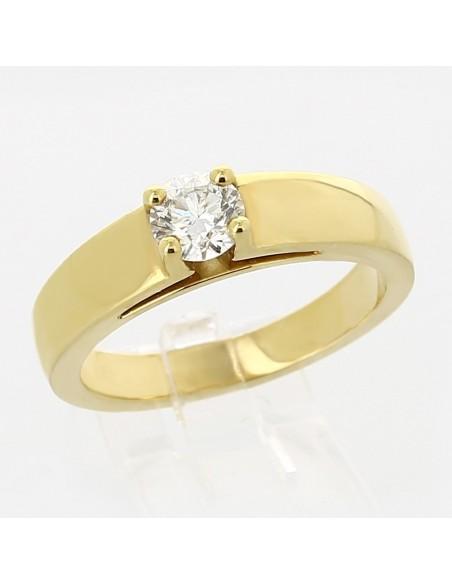 Bague de fiançaille en or 18 carats - solitaire diamant rond serti 4 griffes 0,50 ct