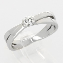 Bague croisée serti demi-clos diamant 0,20 carat-or 18 carats