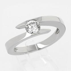"""Bague de fiançailles or 18 carats """"spirale"""" diamant 0,67 ct serti demi clos"""